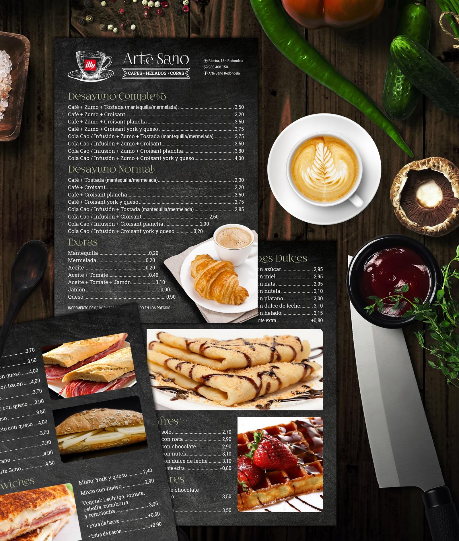 Arte Sano Diseño Publicidad Marketing Carta Menú Restaurante Cafetería Hostelería