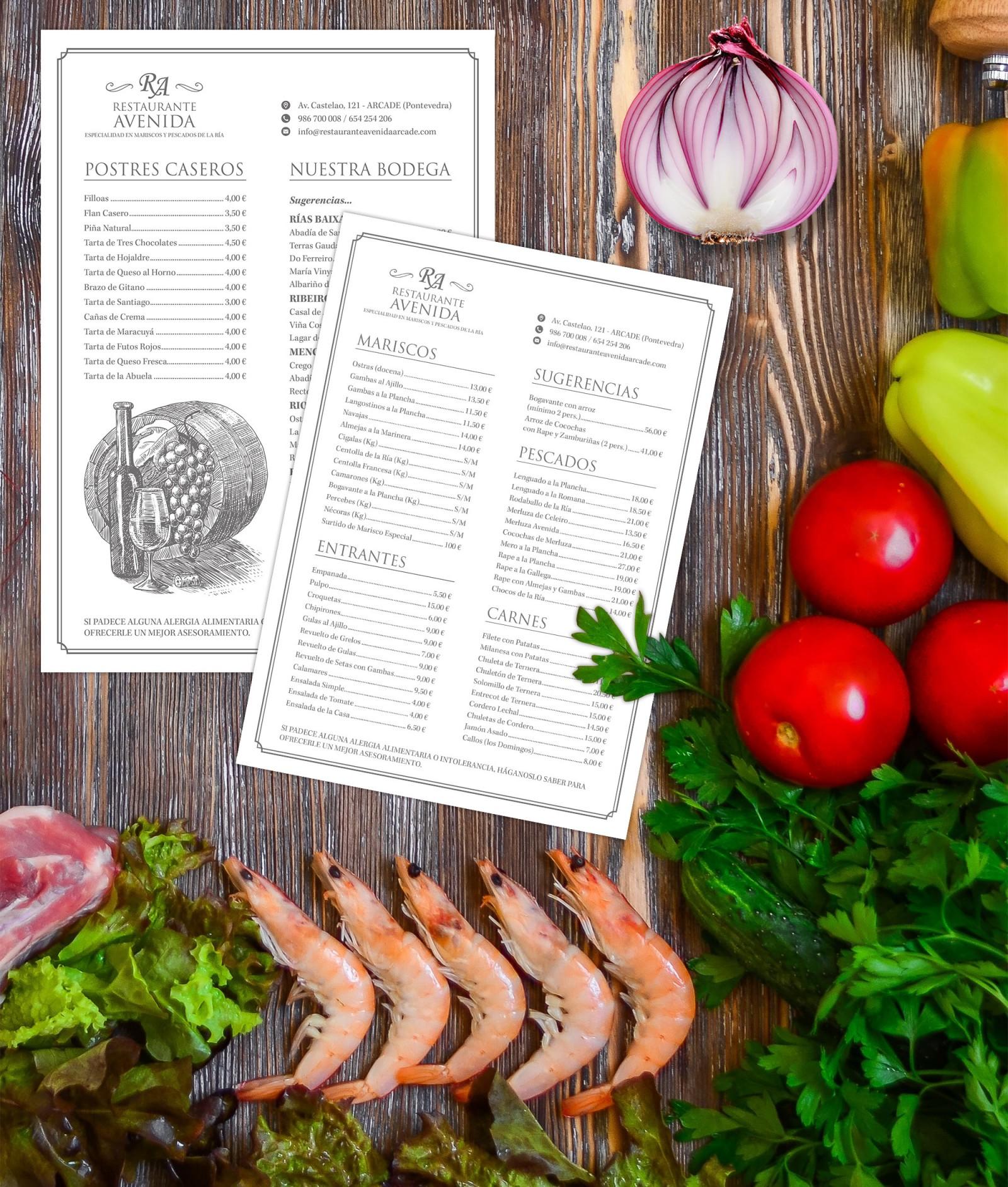 Restaurante Avenida Diseño Publicidad Marketing Carta Menú Restaurante Cafetería Hostelería