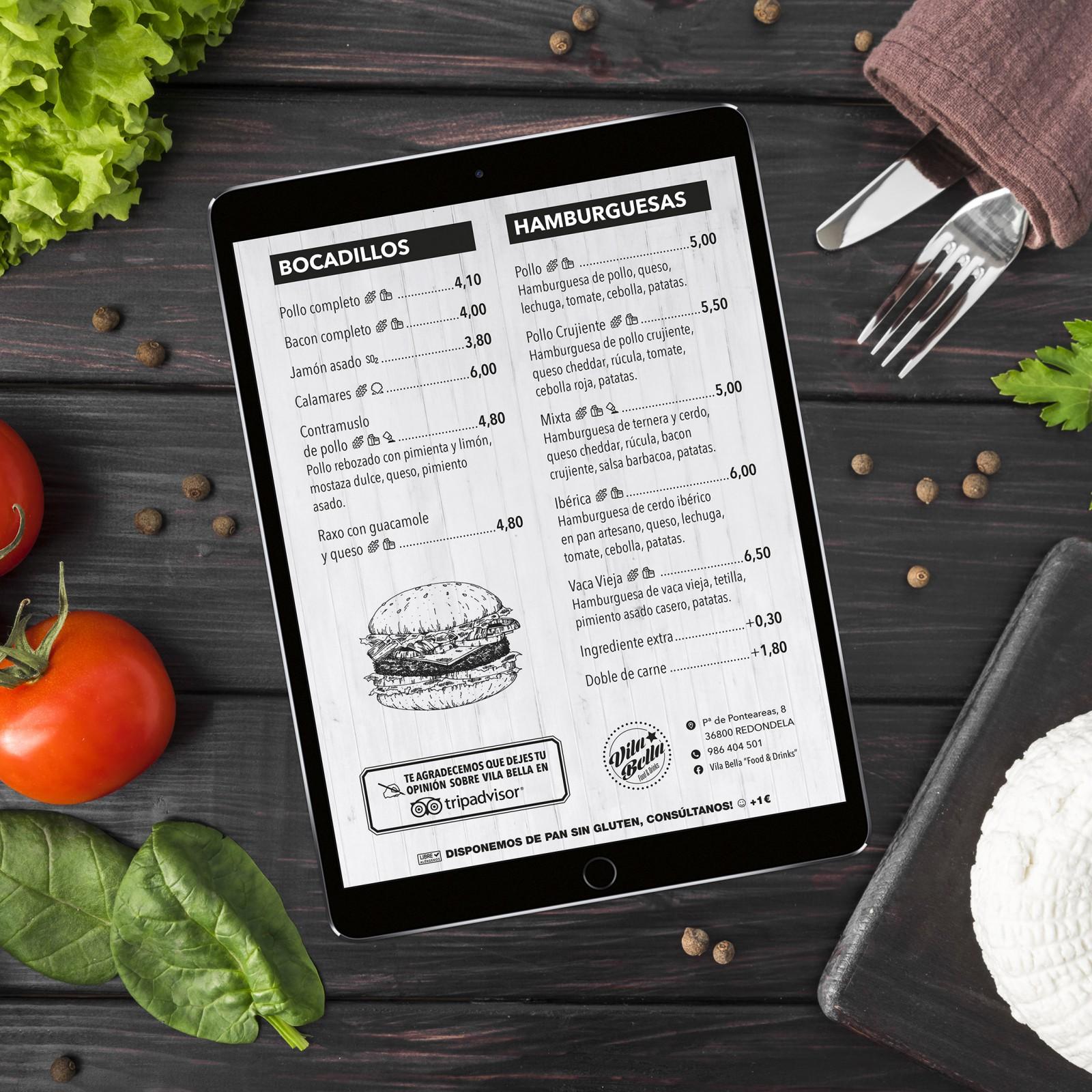 Vila Bella Diseño Publicidad Marketing Carta Menú Restaurante Cafetería Hostelería